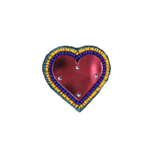 HEART MIRROR Brooch in Pink
