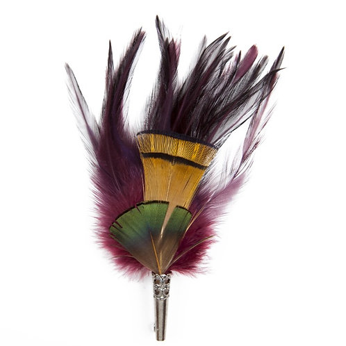 LOOSE Brooch Feathers Burgundy & Orange