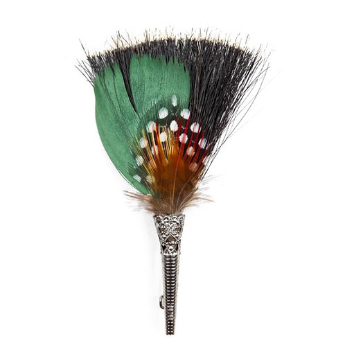 BRUSH Brooch Feathers Green & Orange