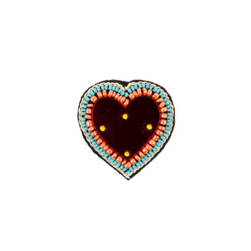 HEART MIRROR Brooch - Embroidery Red