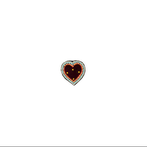 HEART MIRROR Brooch - HD190 Embroidery Red