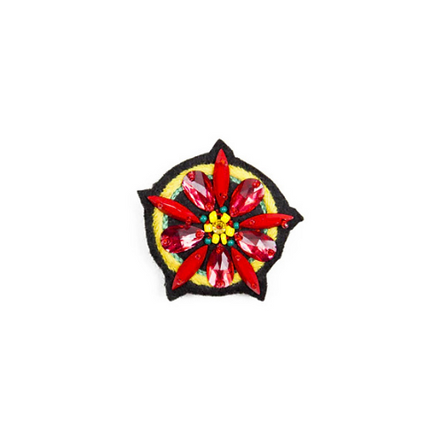 LARGE FLOWER Brooch - Embroidery Red