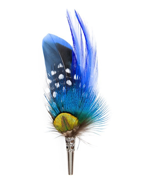 PENCIL Brooch Feathers Royal Blues