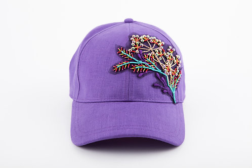 BASEBALL CAP PURPLE With BOUQUET COLORFUL