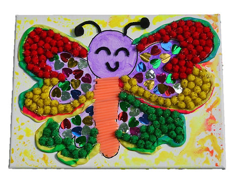 Beaming Butterfly Mixed Media Canvas Art