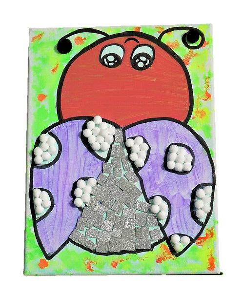Happy Ladybug Mixed Media Canvas Art