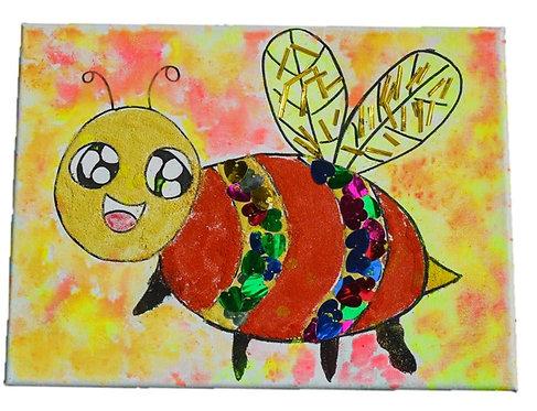 Cheerful Honey Bee Mixed Media Canvas Art