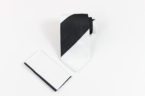 7 FOLD TIE WHITE/BLACK