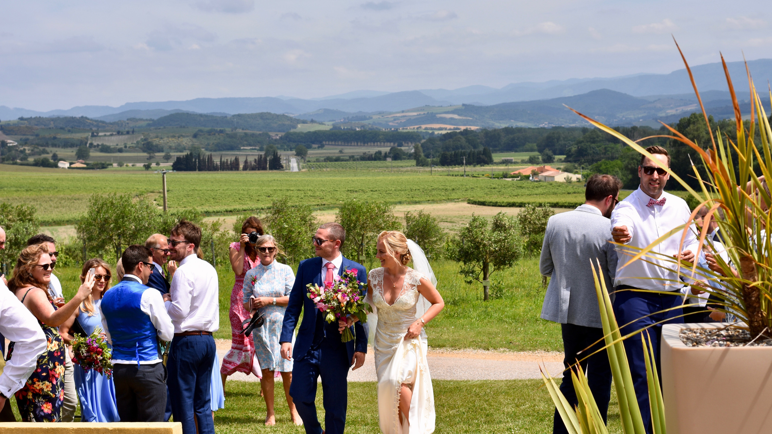 Bride and Groom at Domaine Gayda