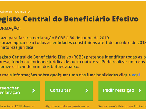 Beneficiário Efectivo adiado 2 meses. Com leitor de Cartão de Cidadão não é necessário advogado
