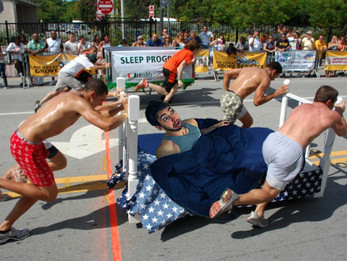 Student wakes up to find he's in Homecoming Bed Races