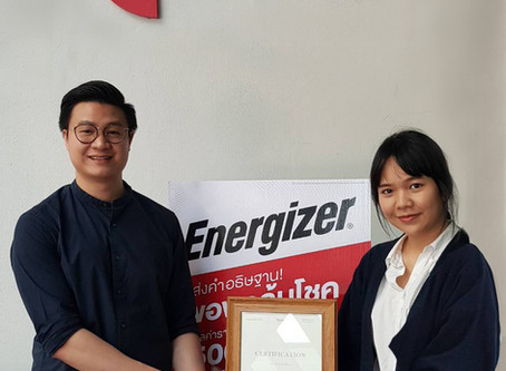 Appreciation Certificate given to 'Energizer'