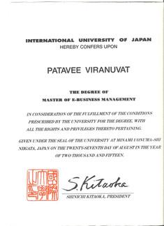 Master Degree, Patavee Viranuvat, GSIM I