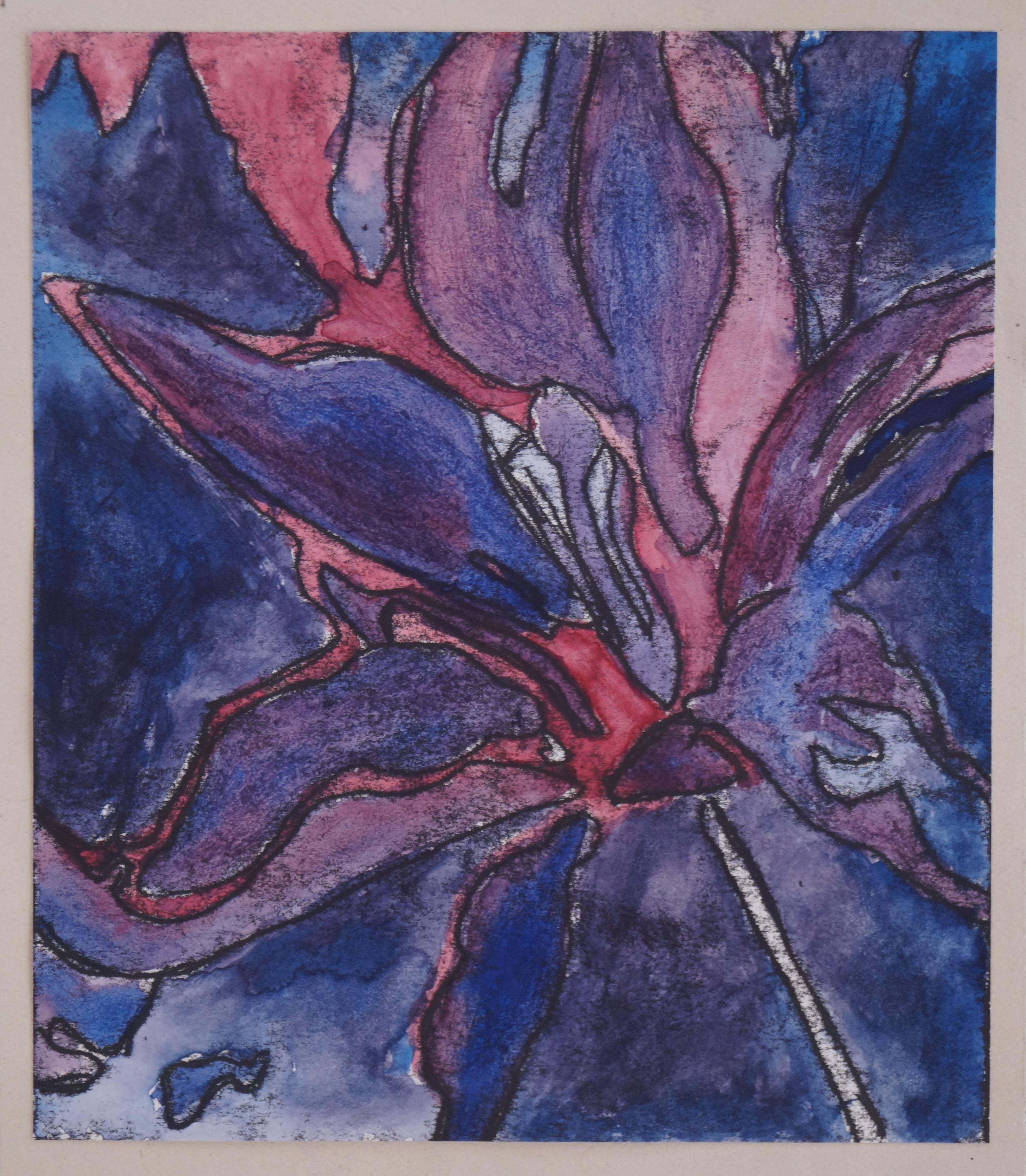 Mono-print & watercolour flower