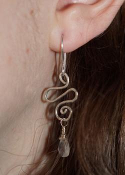 Wirework & Moonstone - Hook Earrings