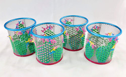 Hand-Embroidered Cacti Pen Pots