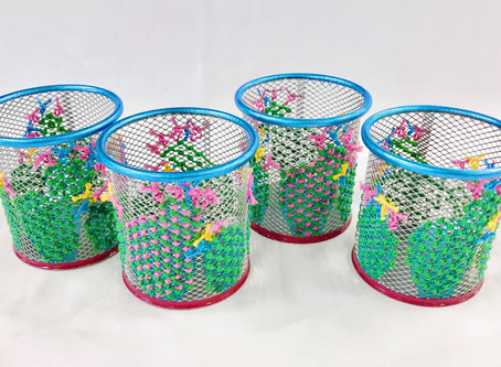 Christmas Pop-Up Shop - Hand Embroidered Pen Pots