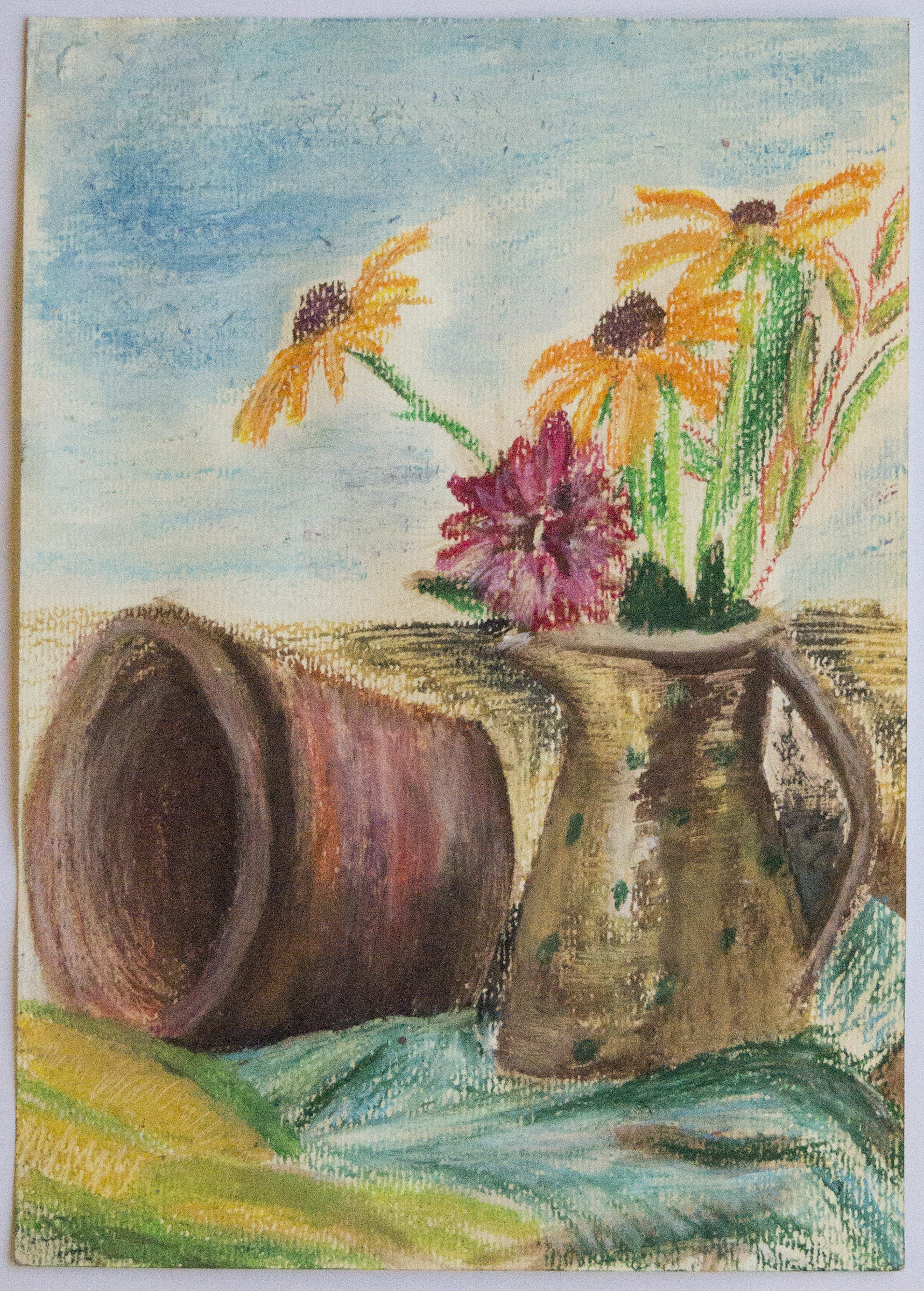 Flowers and Pottery Still Life