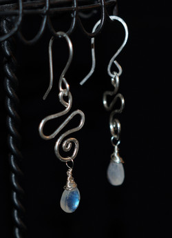 Wirework & Moonstone - Hook Earrings