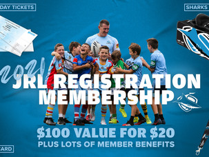 Get your Sharks JRL Membership Pack when you register to play in 2021
