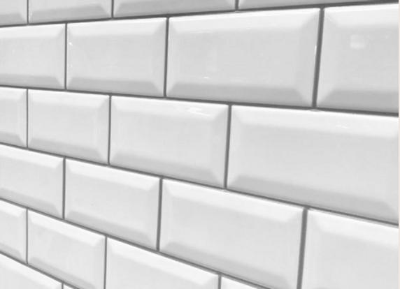 White Bevel Metro-Grey Grout