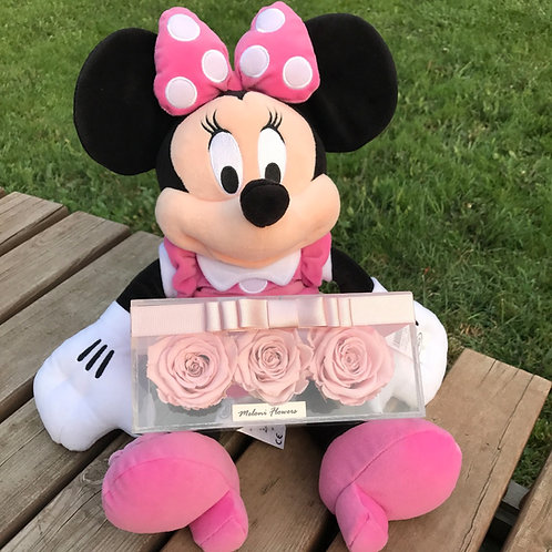 3'lü Pembe Solmayan Güller ve Pembe Minnie Mouse
