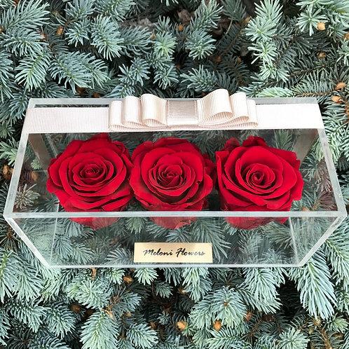 3'lü Kırmızı Solmayan Güller
