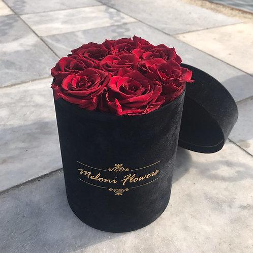 Yuvarlak Kadife Kutuda Kırmızı Solmayan Güller