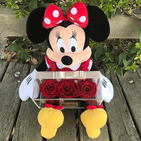 3'lü Kırmızı Solmayan Güller ve Kırmızı Minnie Mouse