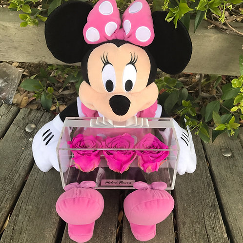 3'lü Fuşya Solmayan Güller ve Pembe Minnie Mouse