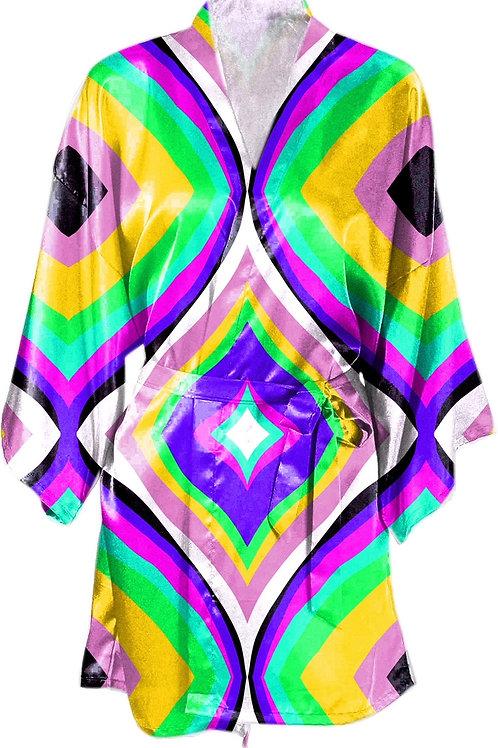 Satin Kimono Robe w/Belt- Mosi Design