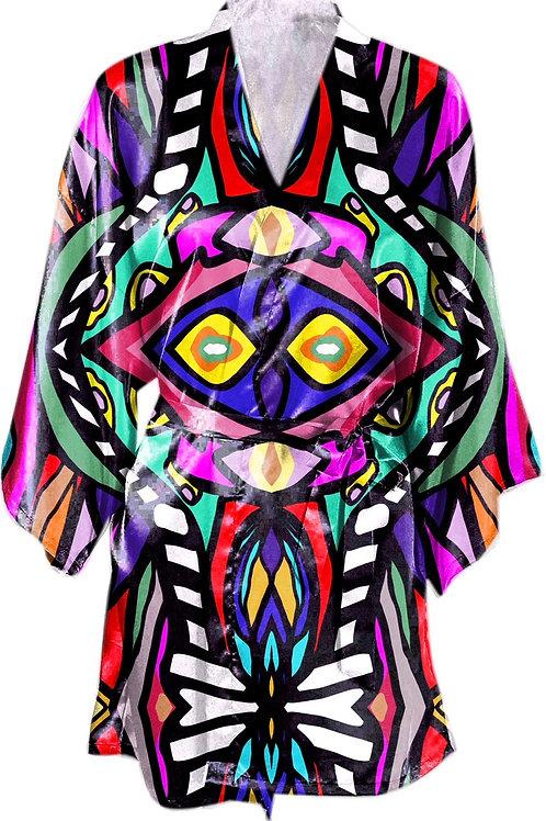 Satin Kimono Robe w/Belt- Ngozi Design