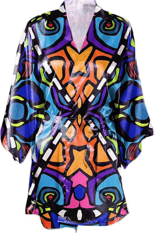Satin Kimono Robe w/Belt- Maji Design