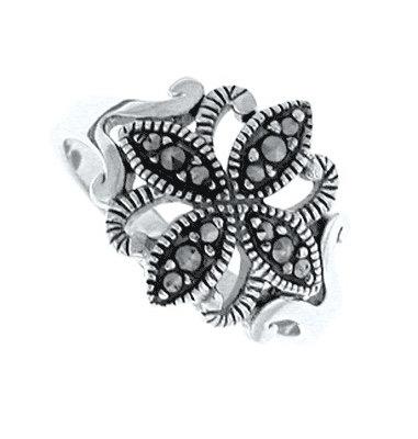 #096 Marcasite Filigree Cross Ring