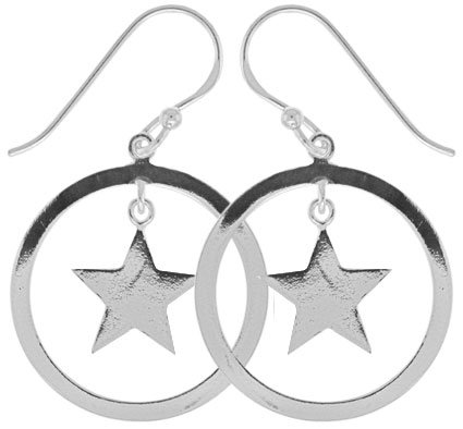 #071 Open Circle Center Star Earrings