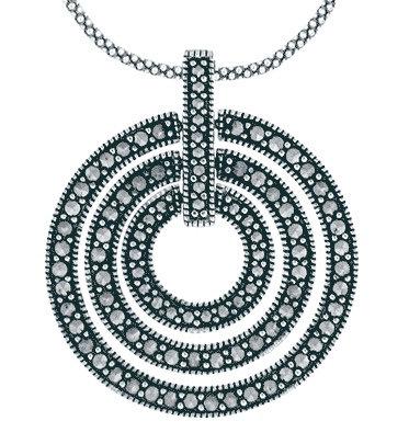#004 Marcasite 3 Circles Necklace