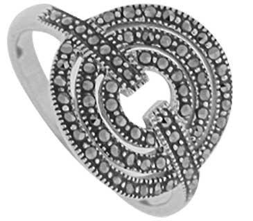 #091 Marcasite Triple Circle Ring