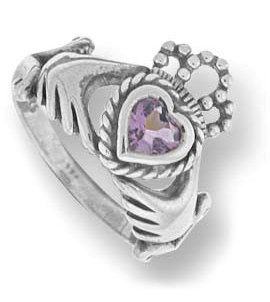 #087 Azna Crown in Heart Ring (Purple Center Stone)