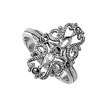 #095 Filigree Oval Cross Over Ring