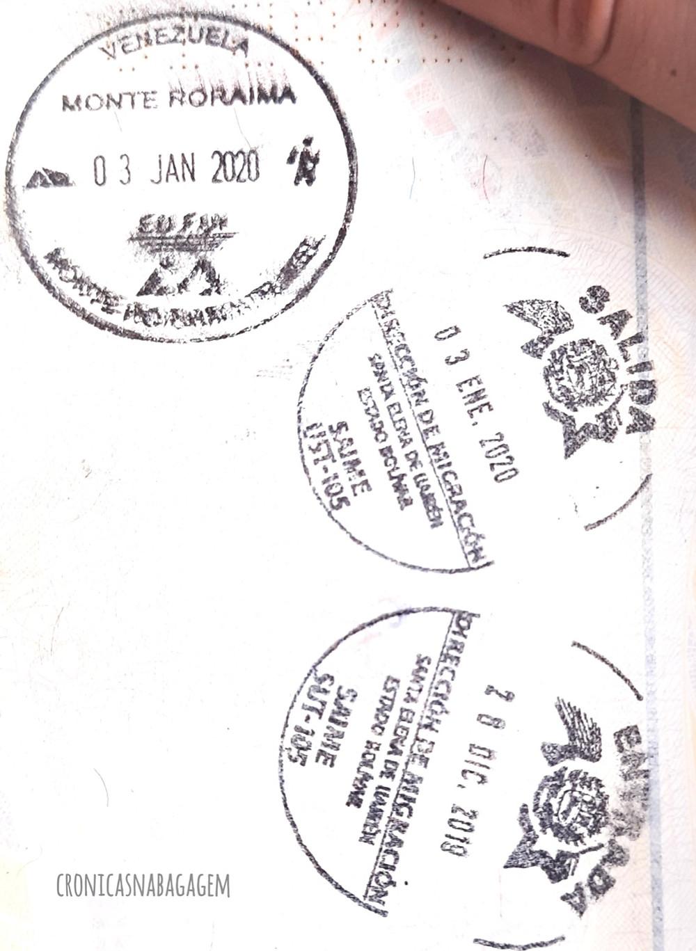 carimbos no passaporte de entrada/saída na Venezuela e conclusão do trekking do Monte Roraima