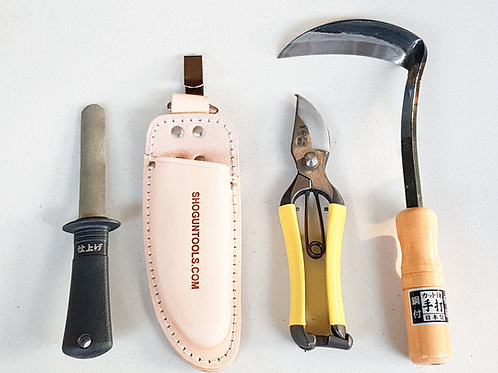 RIGHT-HANDED - SECATEURS, WEEDING SICKLE, POUCH AND TOOL SHARPENER