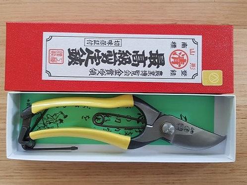 SET - KUDO TYPE F HANDMADE SECATEURS 200mm, POUCH, SPRING - YELLOW