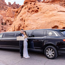 Bride And Groom In Front Of Limo At Valley Of Fire