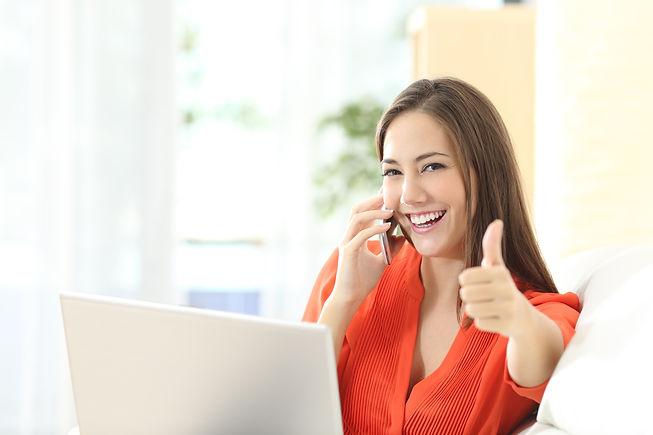 Happy confident entrepreneur working wit