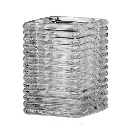 Square Ribbed Glass transparant