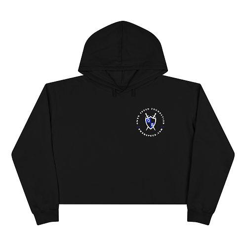 "Round ""OSF"" White Logo Crop Hoodie"