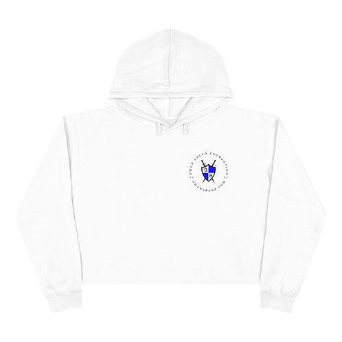 """Round """"OSF"""" Black Logo Crop Hoodie"""