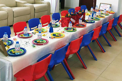 Table Setting for 20 including cups, plates, cutlery, tent, relevant decor