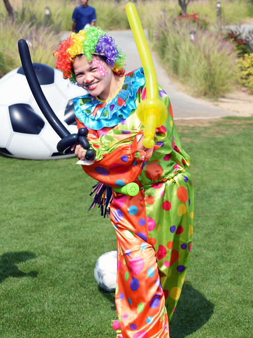 Balloon Twisting in Clown Costume