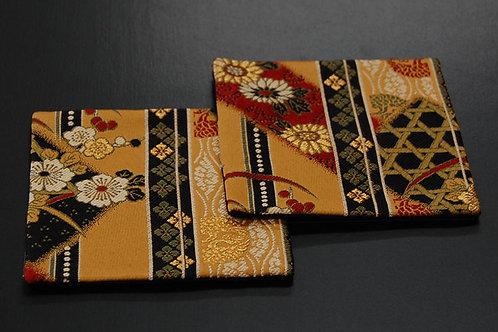 金襴織コースター 極 2枚セット